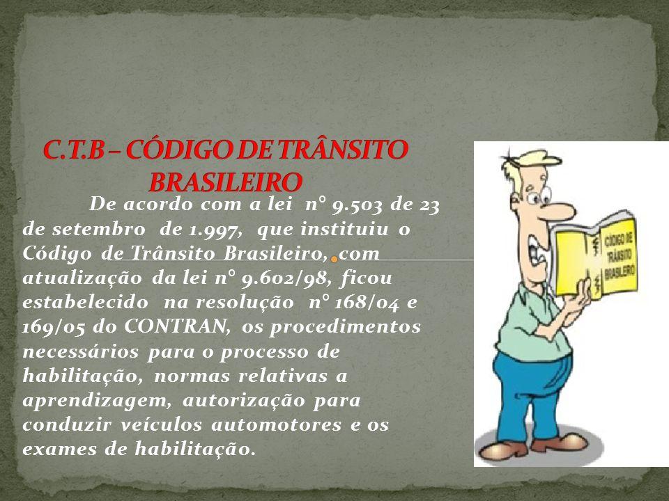 C.T.B – CÓDIGO DE TRÂNSITO BRASILEIRO