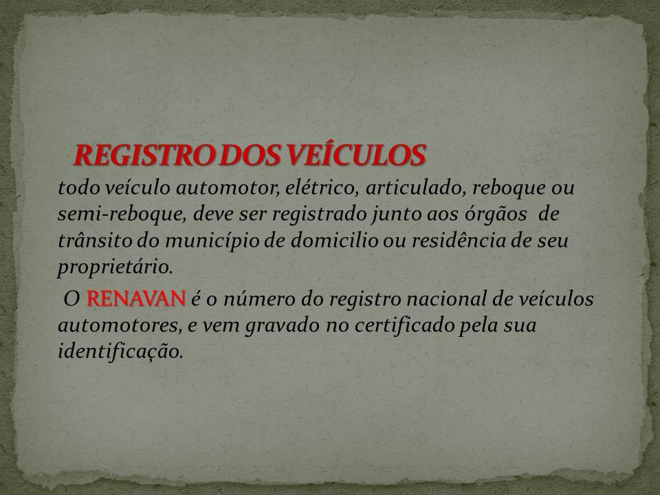 REGISTRO DOS VEÍCULOS