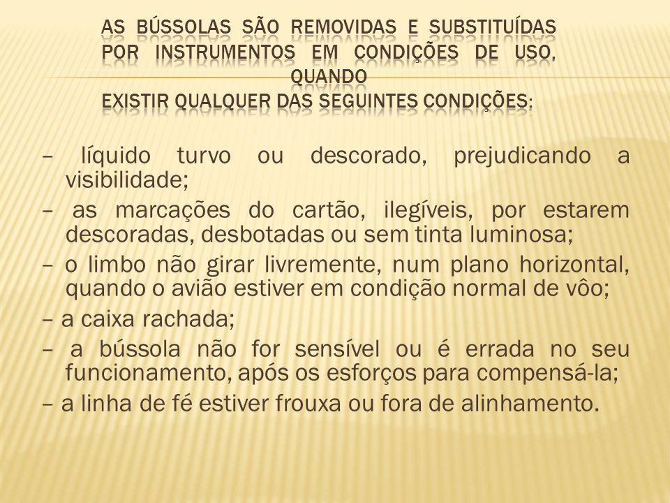 As bússolas são removidas e substituídas por instrumentos em condições de uso, quando existir qualquer das seguintes condições: