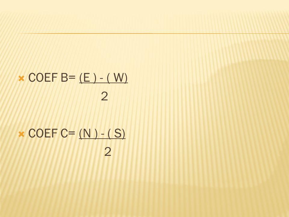 COEF B= (E ) - ( W) 2 COEF C= (N ) - ( S)