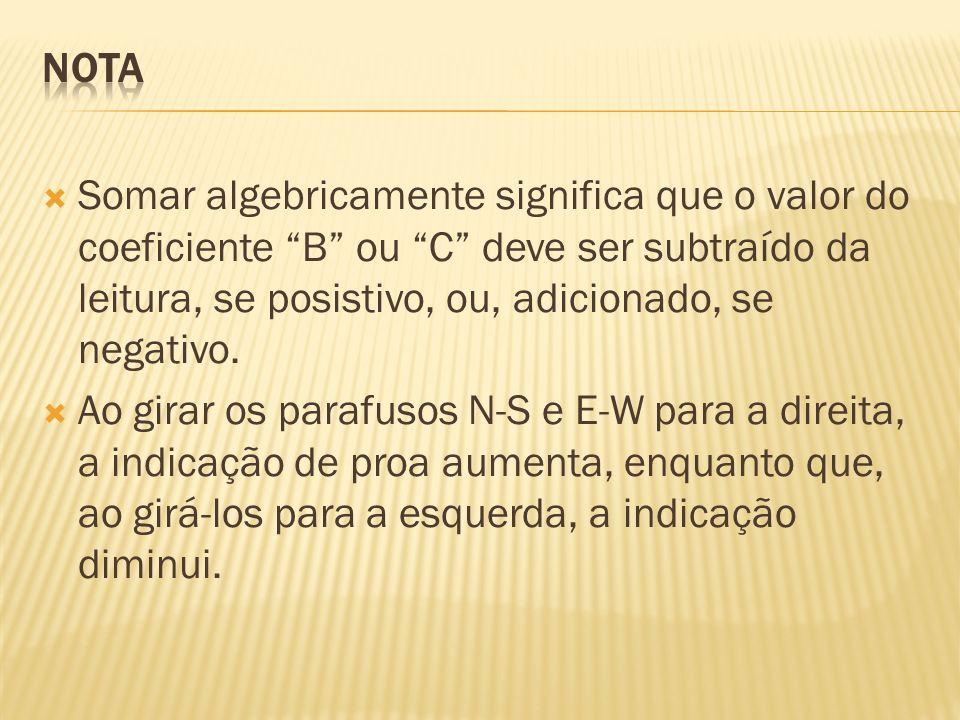 Nota Somar algebricamente significa que o valor do coeficiente B ou C deve ser subtraído da leitura, se posistivo, ou, adicionado, se negativo.
