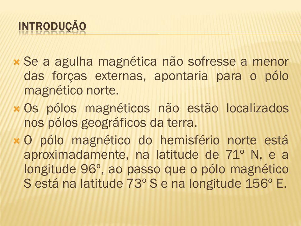 INTRODUÇÃO Se a agulha magnética não sofresse a menor das forças externas, apontaria para o pólo magnético norte.