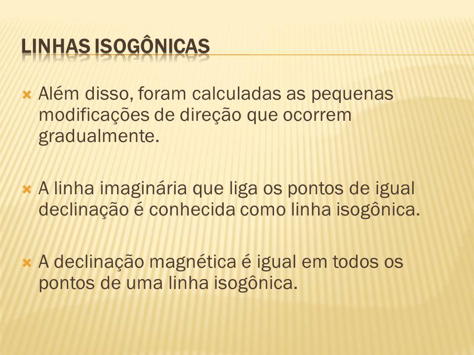 Linhas isogônicas Além disso, foram calculadas as pequenas modificações de direção que ocorrem gradualmente.