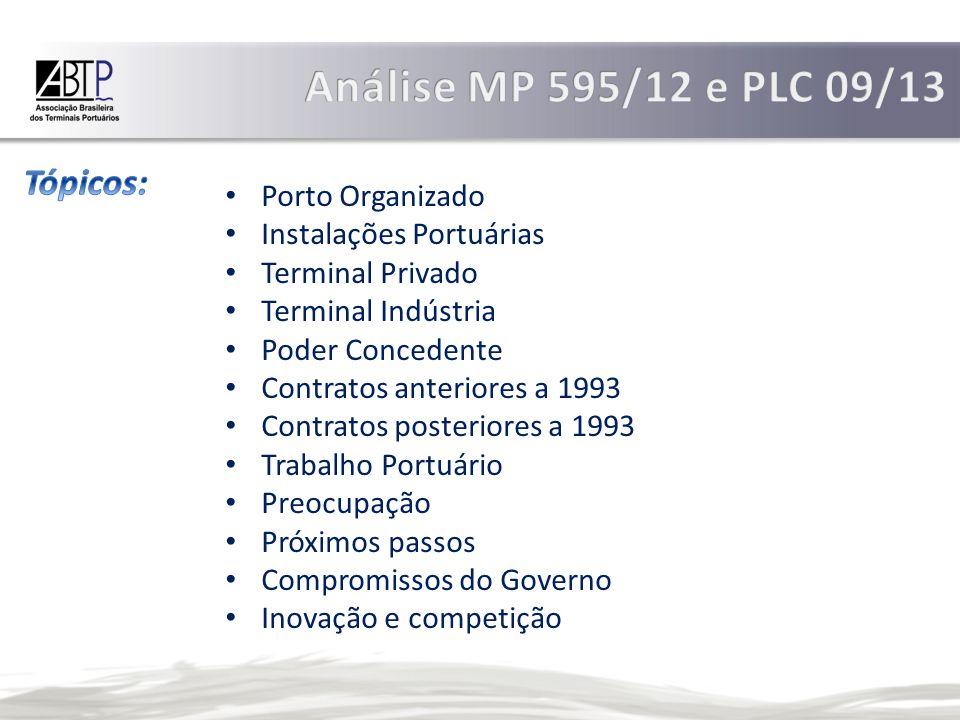 Análise MP 595/12 e PLC 09/13 Tópicos: Porto Organizado