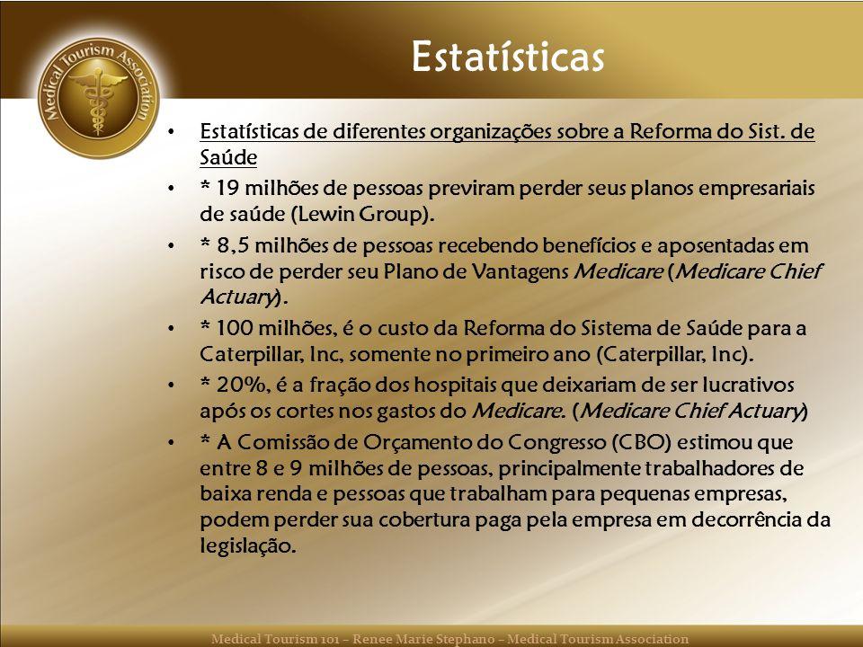 Estatísticas Estatísticas de diferentes organizações sobre a Reforma do Sist. de Saúde.