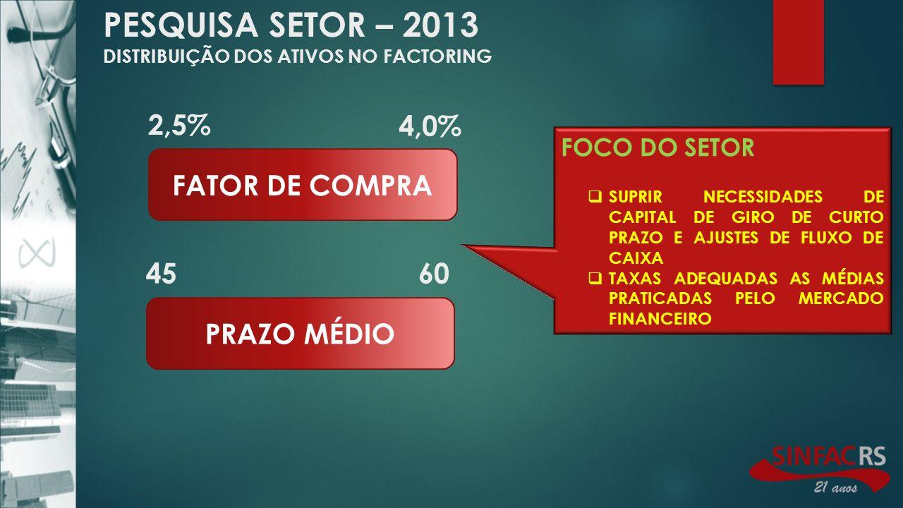 PESQUISA SETOR – 2013 DISTRIBUIÇÃO DOS ATIVOS NO FACTORING