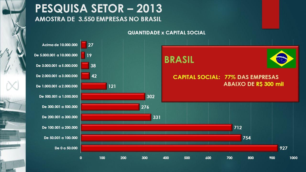 PESQUISA SETOR – 2013 AMOSTRA DE 3.550 EMPRESAS NO BRASIL