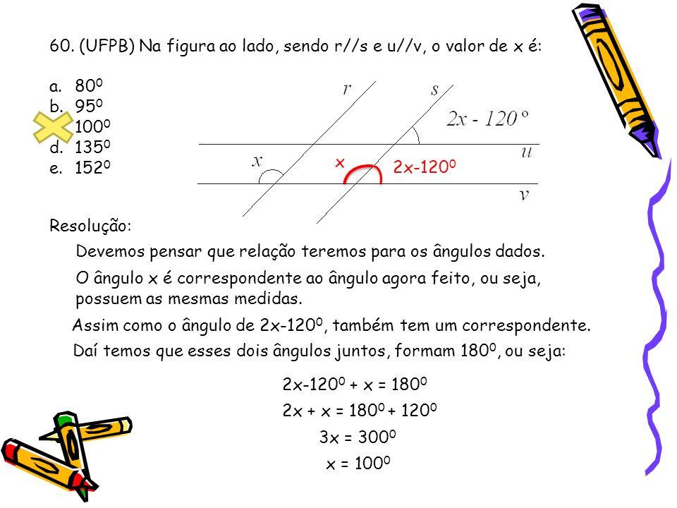 60. (UFPB) Na figura ao lado, sendo r//s e u//v, o valor de x é: