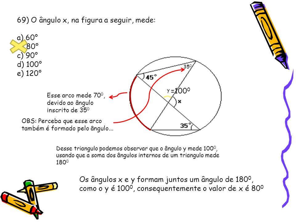 69) O ângulo x, na figura a seguir, mede: a) 60° b) 80° c) 90° d) 100°