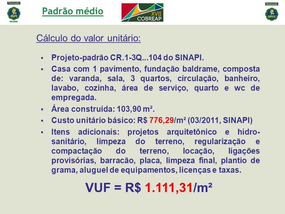 VUF = R$ 1.111,31/m² Padrão médio Cálculo do valor unitário: