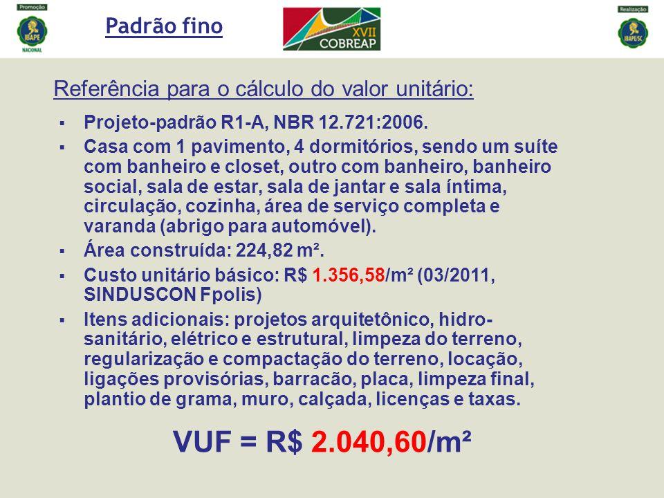 Padrão fino Referência para o cálculo do valor unitário: Projeto-padrão R1-A, NBR 12.721:2006.