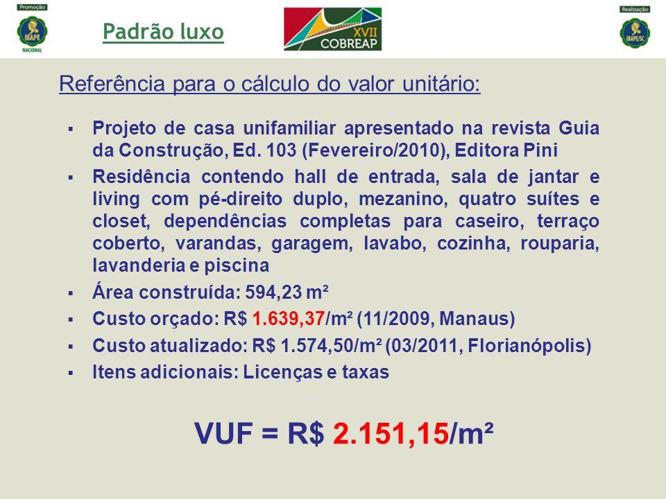 Padrão luxo Referência para o cálculo do valor unitário: