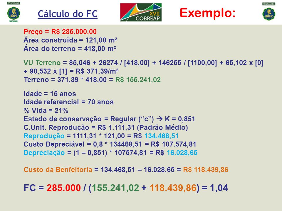 Exemplo: Cálculo do FC FC = 285.000 / (155.241,02 + 118.439,86) = 1,04