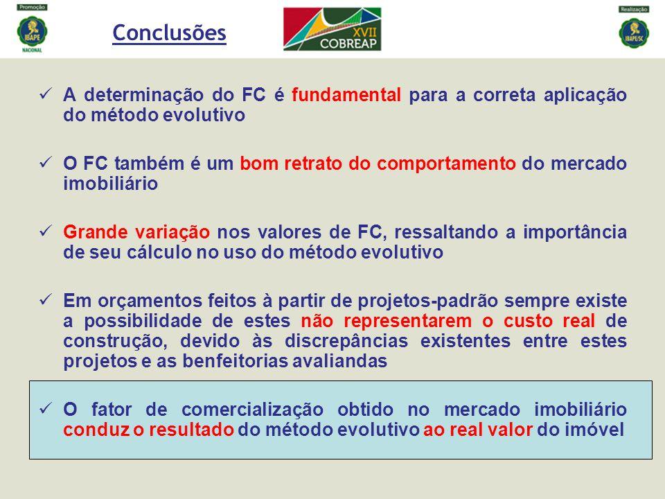 Conclusões A determinação do FC é fundamental para a correta aplicação do método evolutivo.