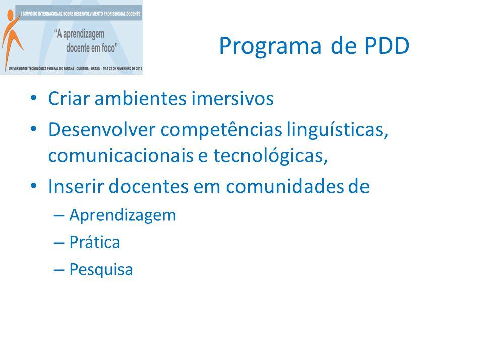 Programa de PDD Criar ambientes imersivos
