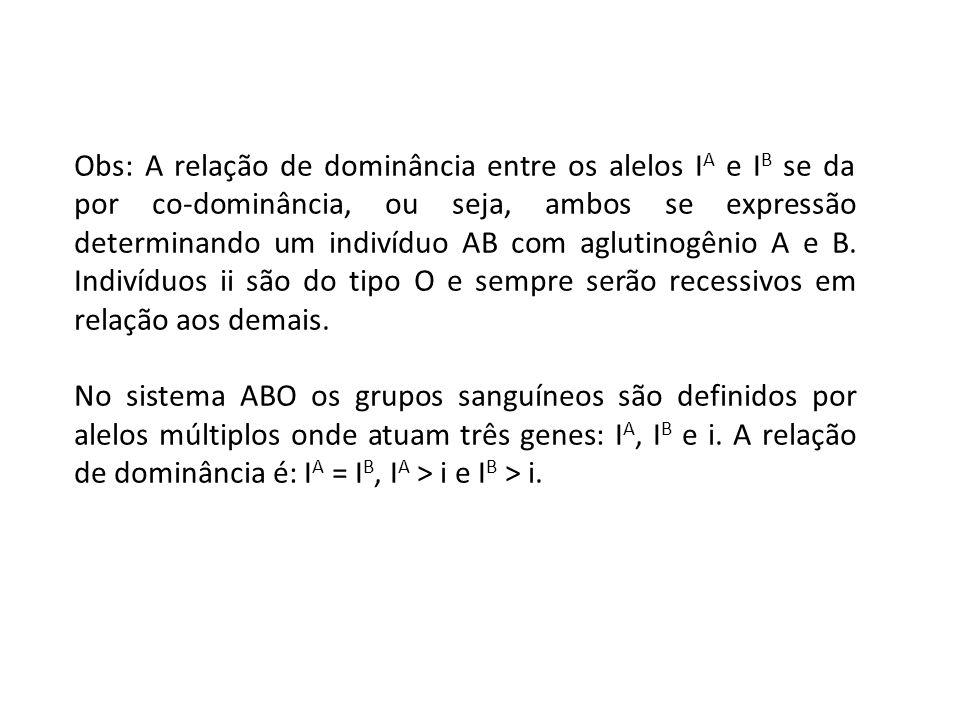 Obs: A relação de dominância entre os alelos IA e IB se da por co-dominância, ou seja, ambos se expressão determinando um indivíduo AB com aglutinogênio A e B. Indivíduos ii são do tipo O e sempre serão recessivos em relação aos demais.