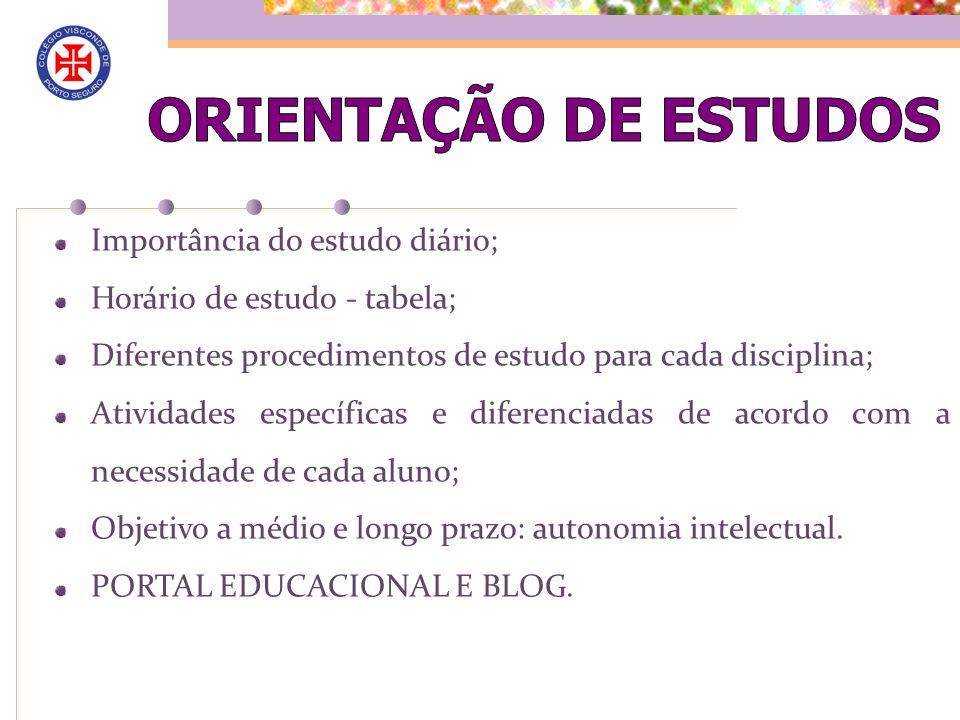 ORIENTAÇÃO DE ESTUDOS Importância do estudo diário;