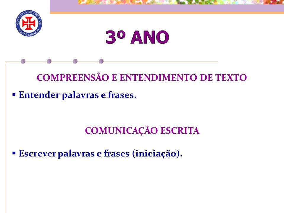 COMPREENSÃO E ENTENDIMENTO DE TEXTO
