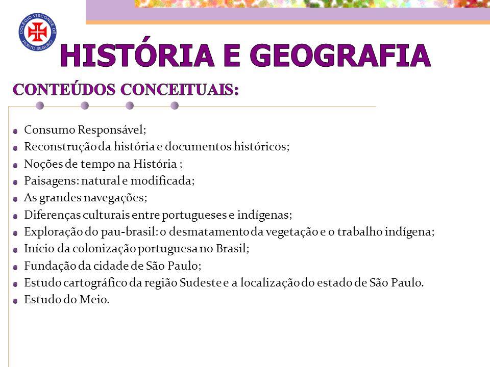 HISTÓRIA E GEOGRAFIA CONTEÚDOS CONCEITUAIS: Consumo Responsável;