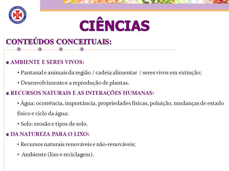 CIÊNCIAS CONTEÚDOS CONCEITUAIS: AMBIENTE E SERES VIVOS: