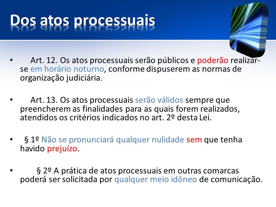 Dos atos processuais