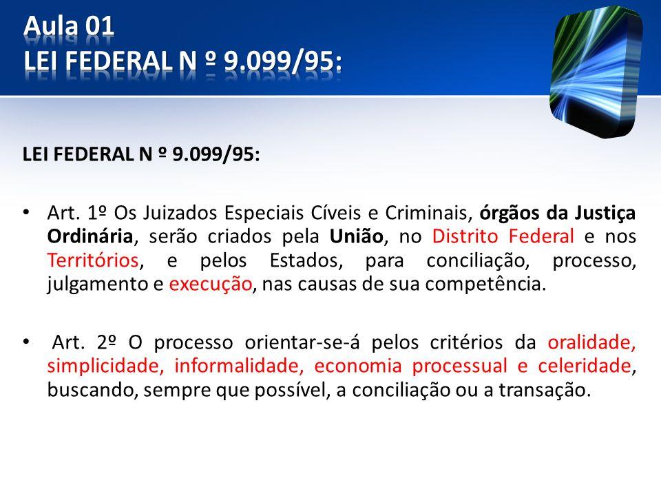 Aula 01 LEI FEDERAL N º 9.099/95: LEI FEDERAL N º 9.099/95: