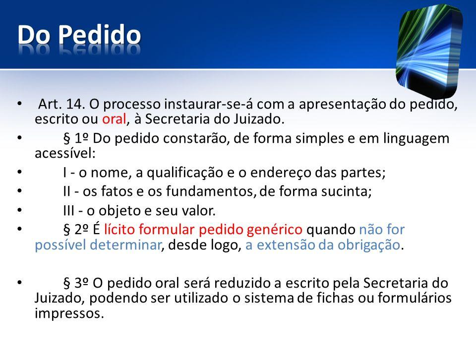 Do Pedido Art. 14. O processo instaurar-se-á com a apresentação do pedido, escrito ou oral, à Secretaria do Juizado.