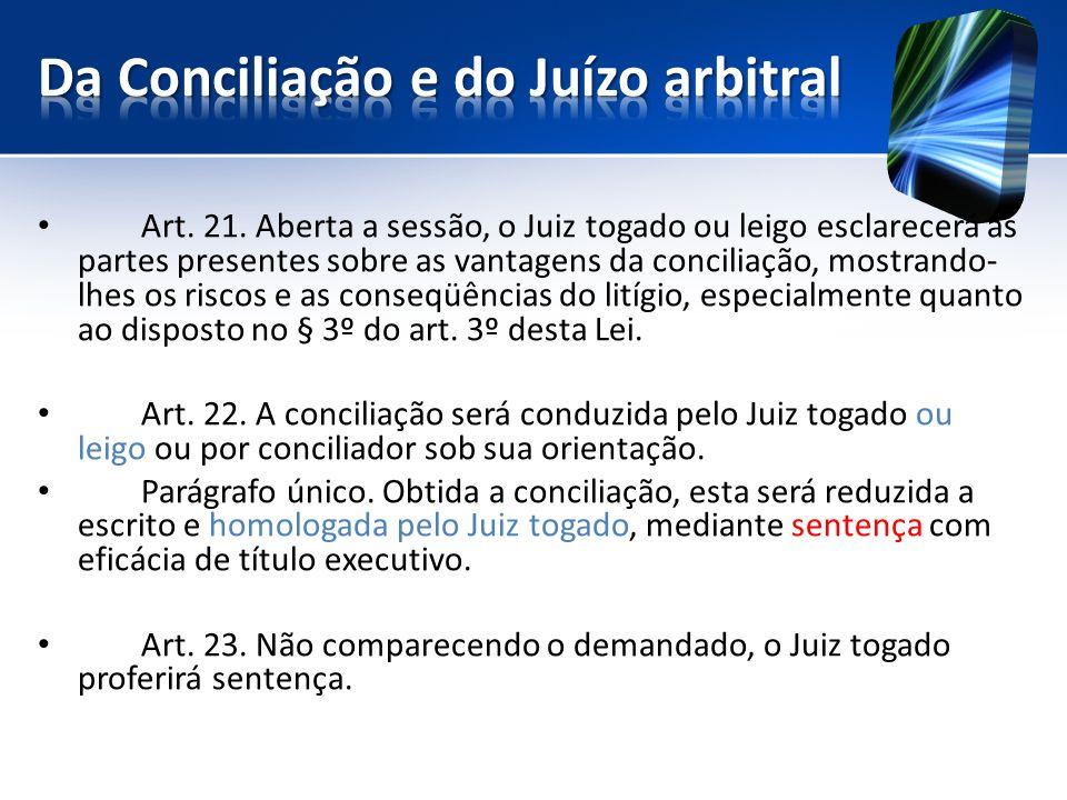 Da Conciliação e do Juízo arbitral
