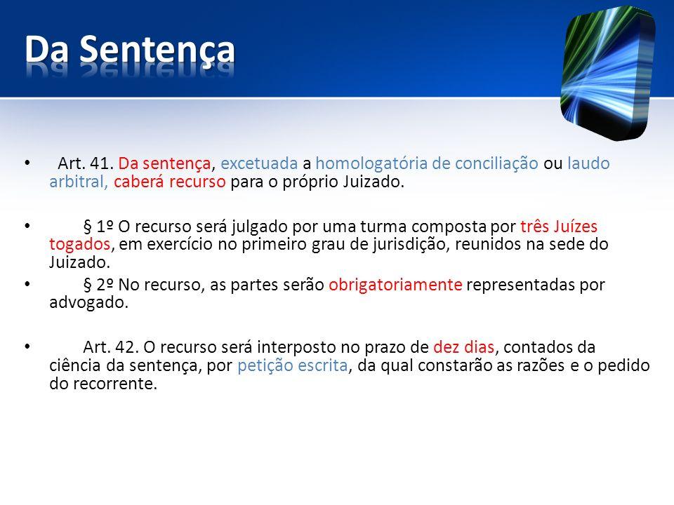 Da Sentença Art. 41. Da sentença, excetuada a homologatória de conciliação ou laudo arbitral, caberá recurso para o próprio Juizado.