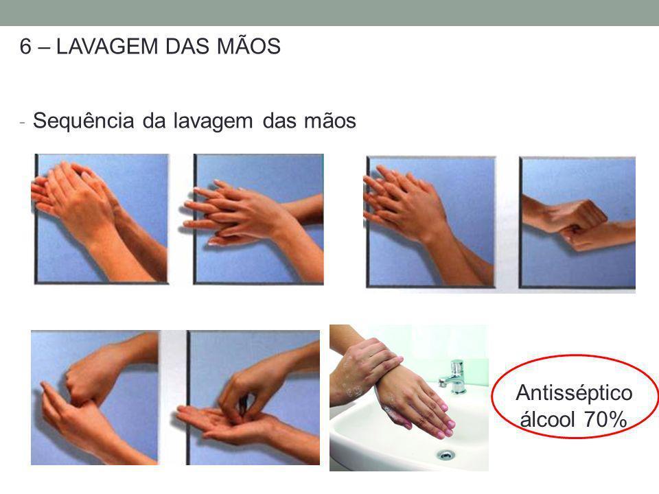 6 – LAVAGEM DAS MÃOS Sequência da lavagem das mãos Antisséptico álcool 70%