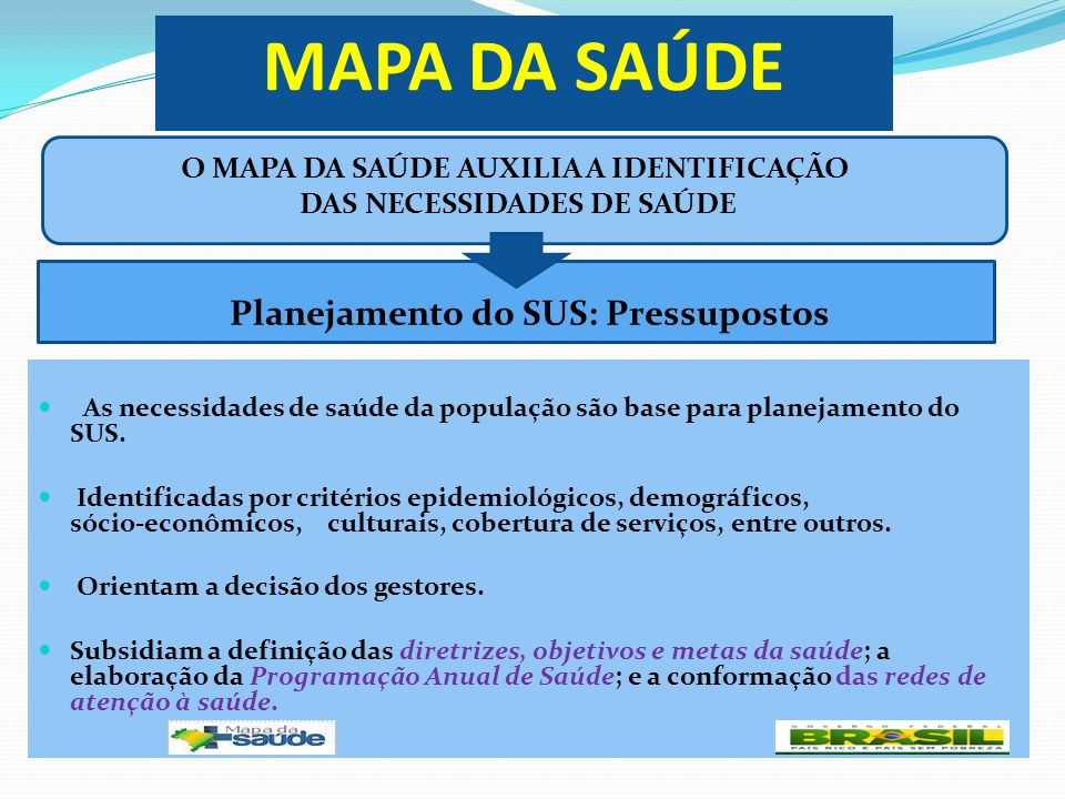 O MAPA DA SAÚDE AUXILIA A IDENTIFICAÇÃO DAS NECESSIDADES DE SAÚDE