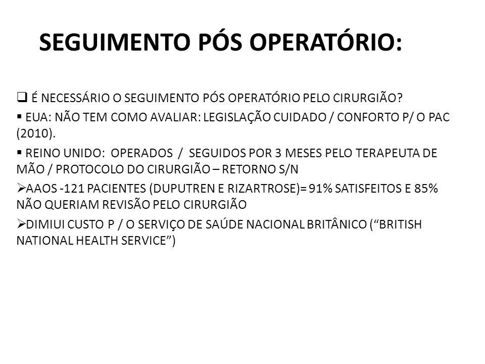 SEGUIMENTO PÓS OPERATÓRIO: