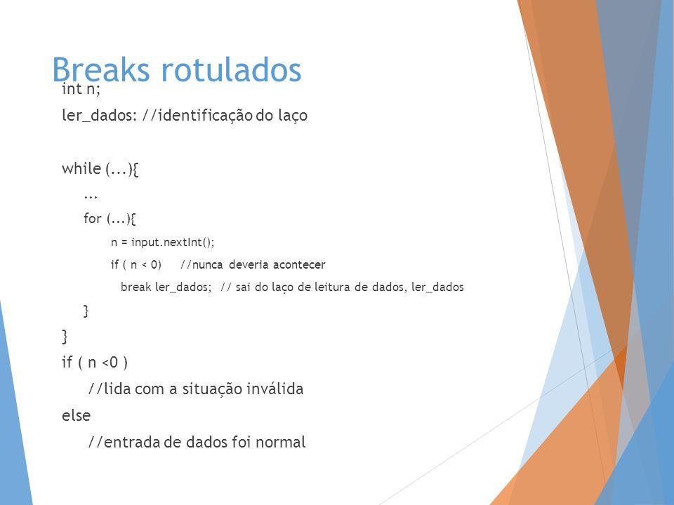 Breaks rotulados int n; ler_dados: //identificação do laço