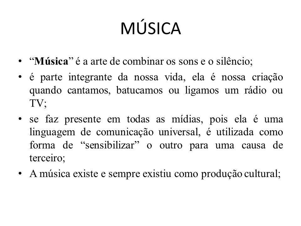 MÚSICA Música é a arte de combinar os sons e o silêncio;