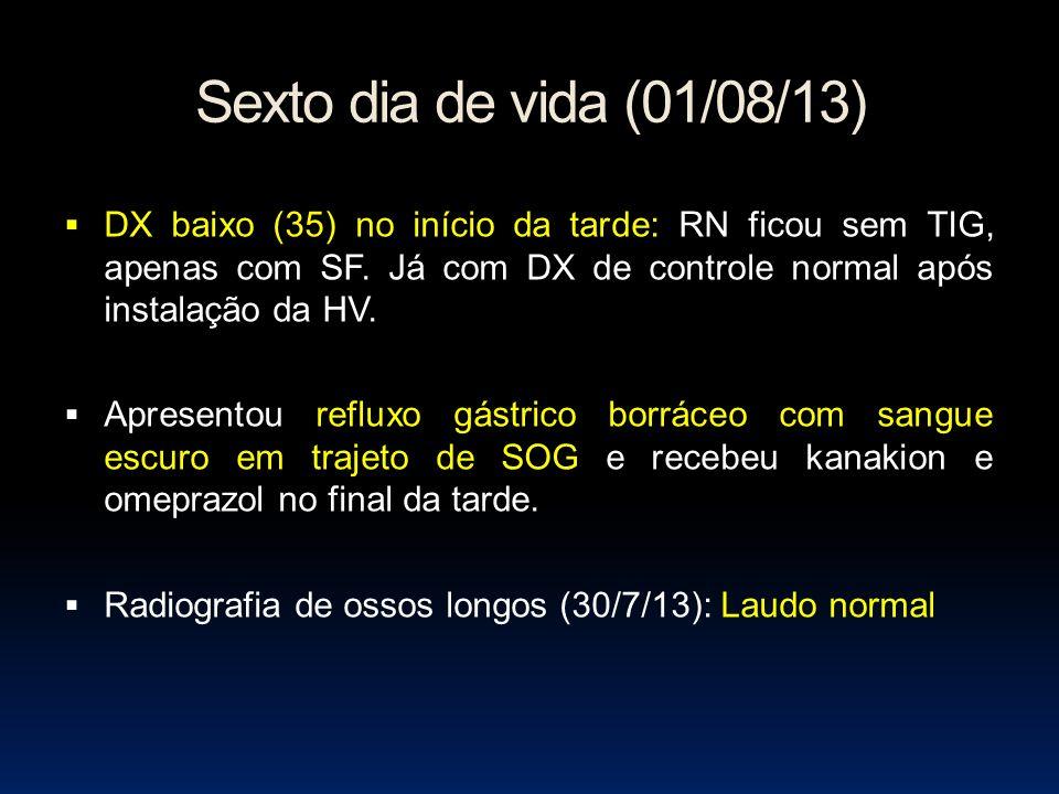 Sexto dia de vida (01/08/13) DX baixo (35) no início da tarde: RN ficou sem TIG, apenas com SF. Já com DX de controle normal após instalação da HV.