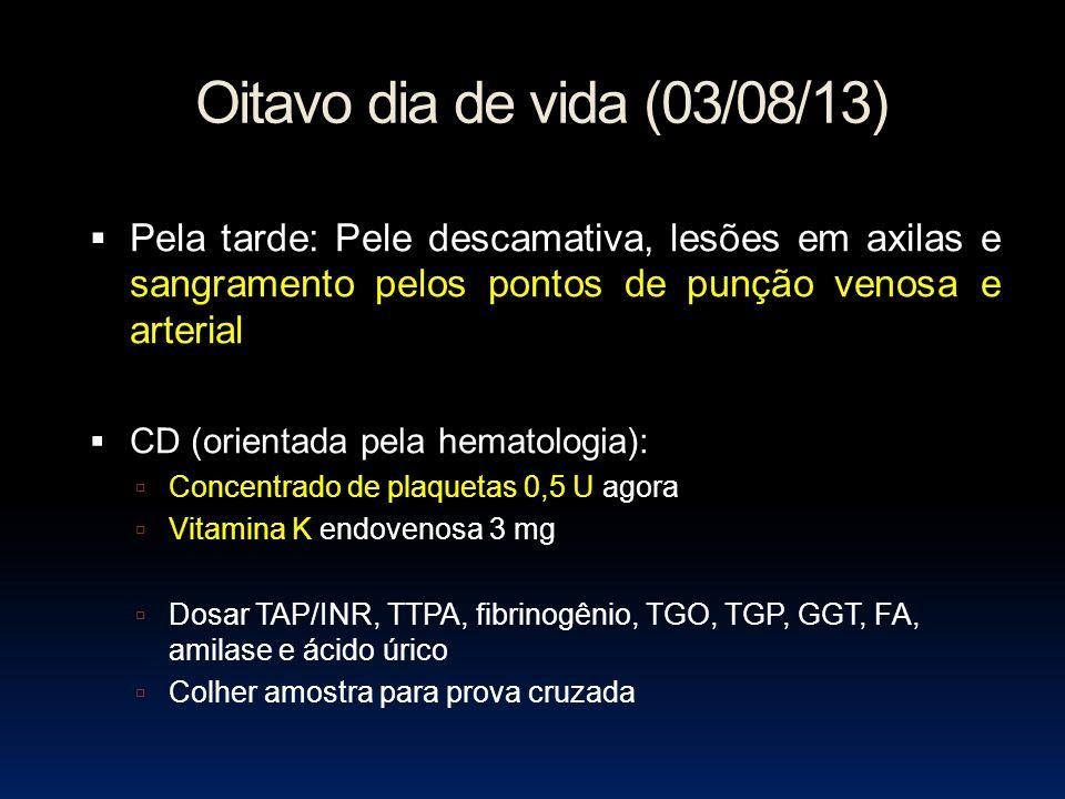 Oitavo dia de vida (03/08/13) Pela tarde: Pele descamativa, lesões em axilas e sangramento pelos pontos de punção venosa e arterial.