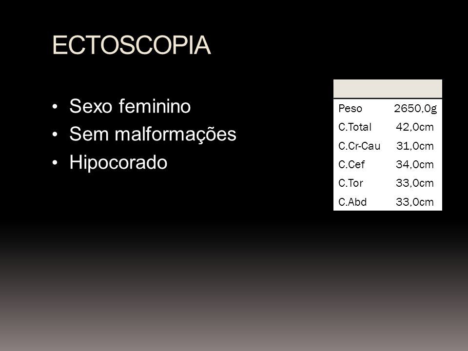 ECTOSCOPIA Sexo feminino Sem malformações Hipocorado Peso 2650,0g
