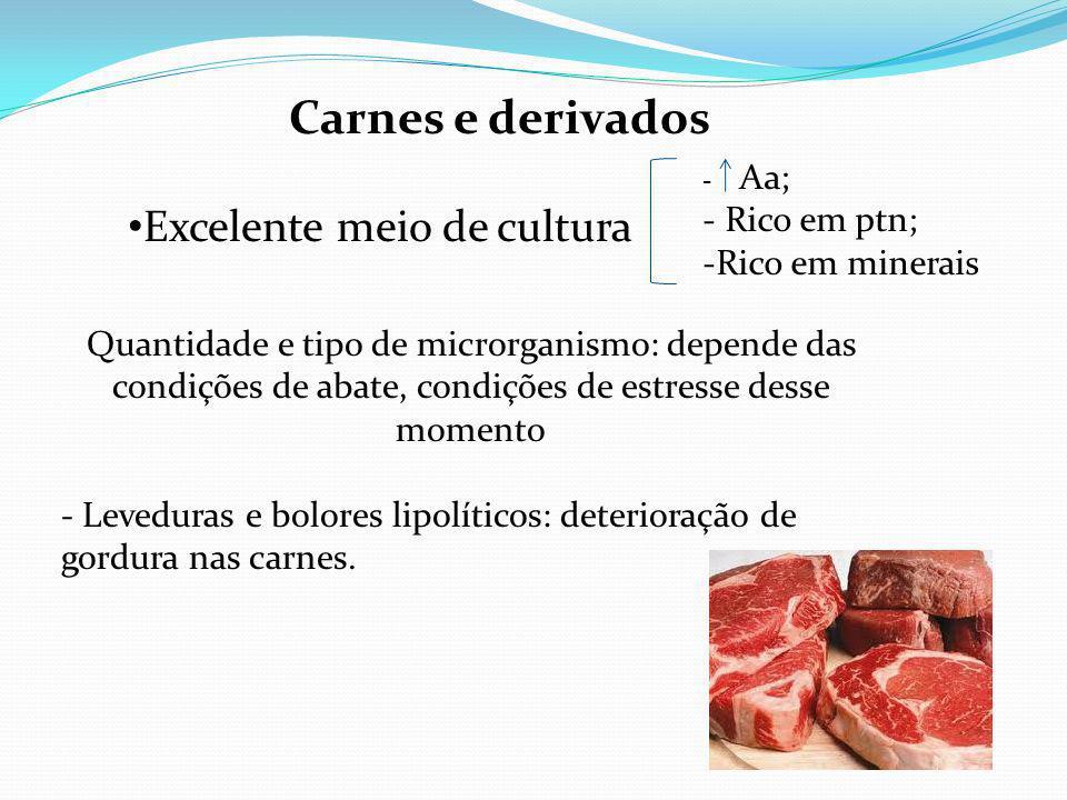 Carnes e derivados Excelente meio de cultura Rico em ptn;
