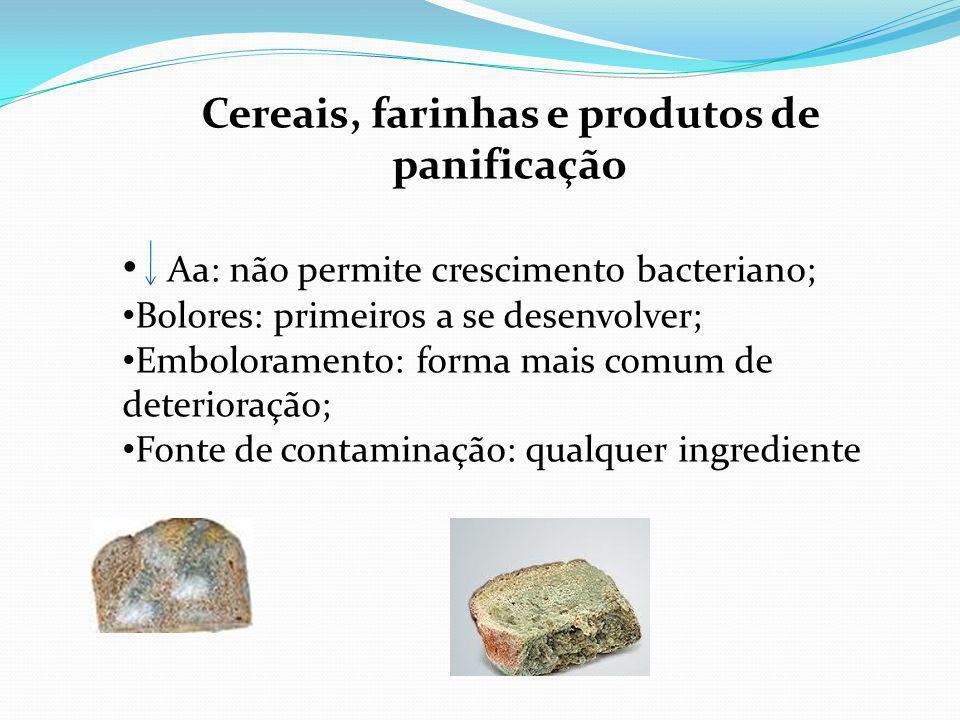 Cereais, farinhas e produtos de panificação