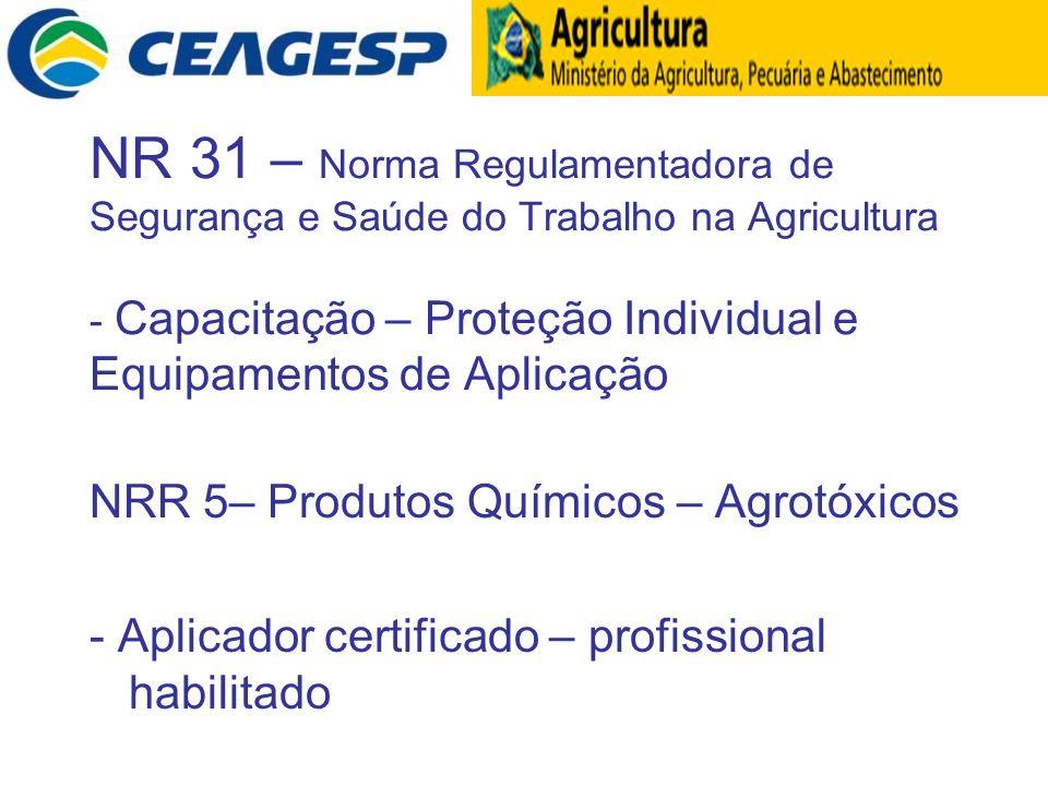 NR 31 – Norma Regulamentadora de Segurança e Saúde do Trabalho na Agricultura - Capacitação – Proteção Individual e Equipamentos de Aplicação