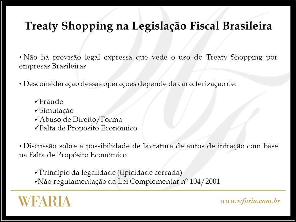 Treaty Shopping na Legislação Fiscal Brasileira