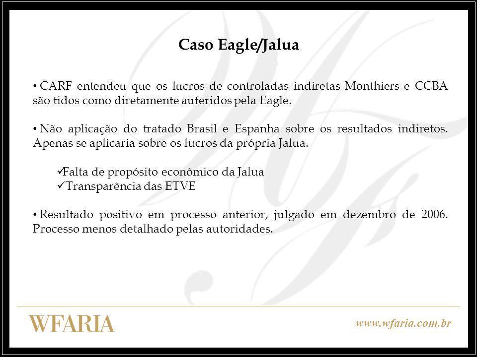 Caso Eagle/Jalua CARF entendeu que os lucros de controladas indiretas Monthiers e CCBA são tidos como diretamente auferidos pela Eagle.