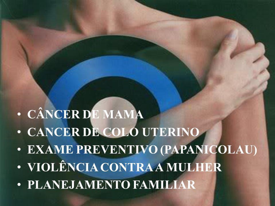 CÂNCER DE MAMA CANCER DE COLO UTERINO. EXAME PREVENTIVO (PAPANICOLAU) VIOLÊNCIA CONTRA A MULHER.