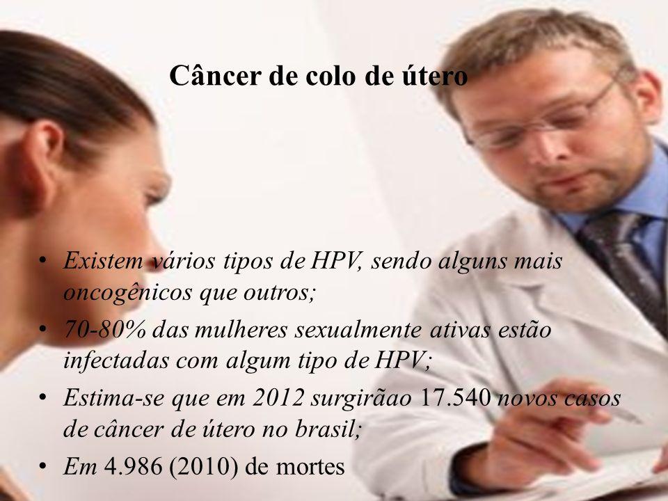 Câncer de colo de útero Existem vários tipos de HPV, sendo alguns mais oncogênicos que outros;