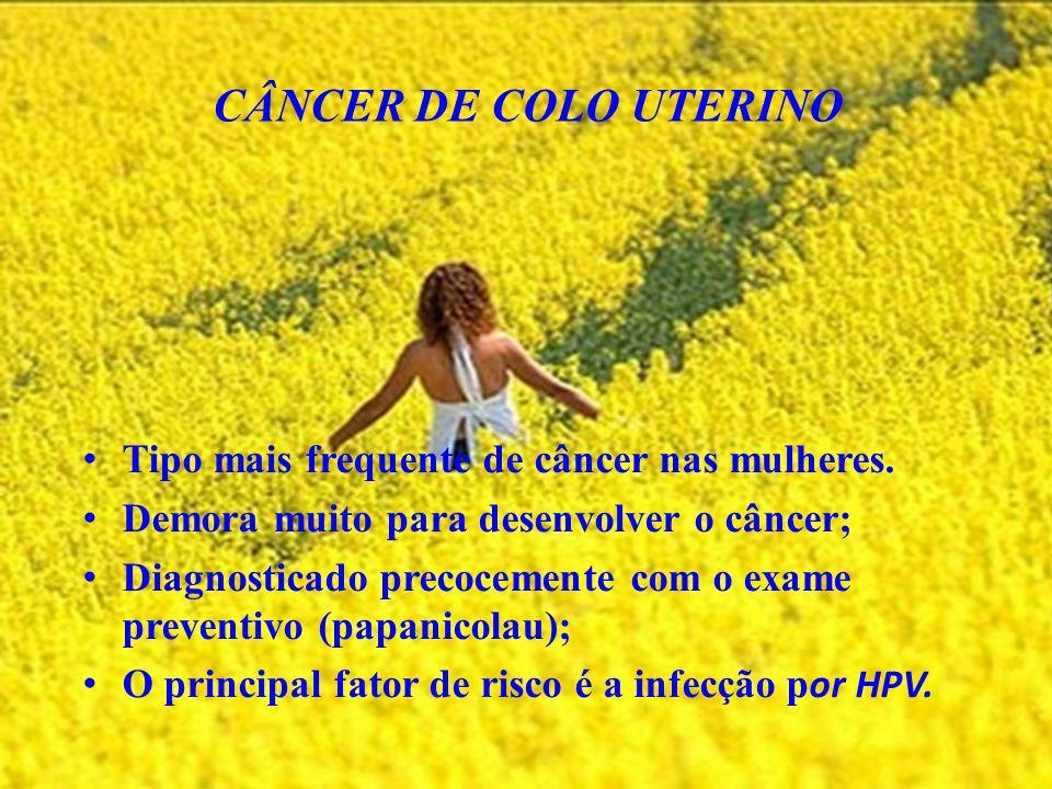 CÂNCER DE COLO UTERINO Tipo mais frequente de câncer nas mulheres.