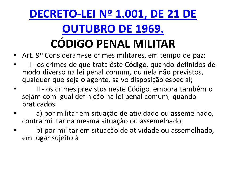 DECRETO-LEI Nº 1.001, DE 21 DE OUTUBRO DE 1969. CÓDIGO PENAL MILITAR