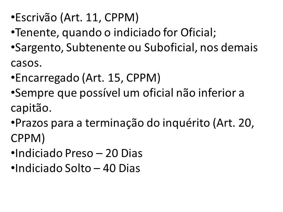Escrivão (Art. 11, CPPM) Tenente, quando o indiciado for Oficial; Sargento, Subtenente ou Suboficial, nos demais casos.