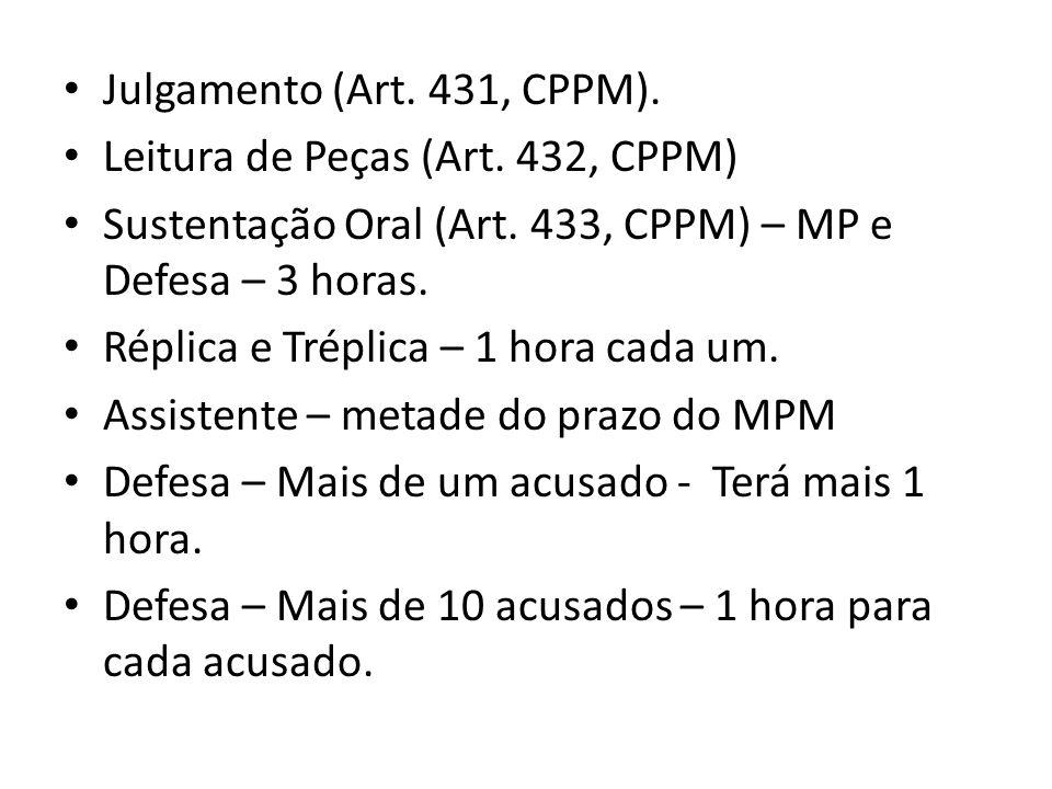 Julgamento (Art. 431, CPPM). Leitura de Peças (Art. 432, CPPM) Sustentação Oral (Art. 433, CPPM) – MP e Defesa – 3 horas.