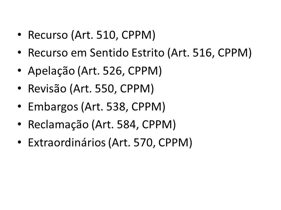 Recurso (Art. 510, CPPM) Recurso em Sentido Estrito (Art. 516, CPPM) Apelação (Art. 526, CPPM) Revisão (Art. 550, CPPM)