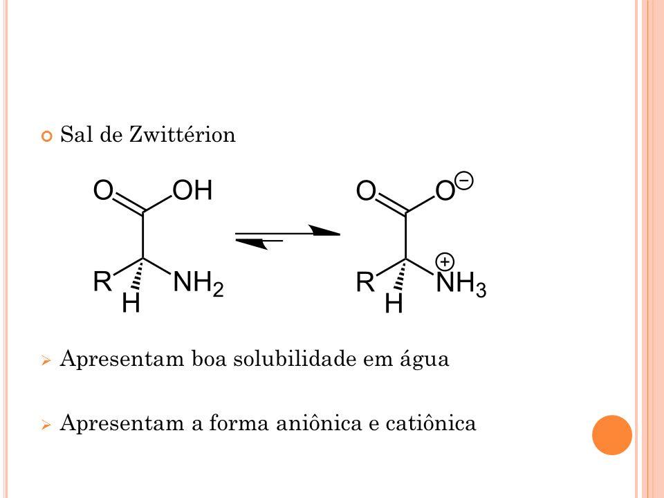 Sal de Zwittérion Apresentam boa solubilidade em água Apresentam a forma aniônica e catiônica